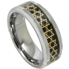 COI Tungsten Carbide Black Gold Tone Stars Ring-TG1081A