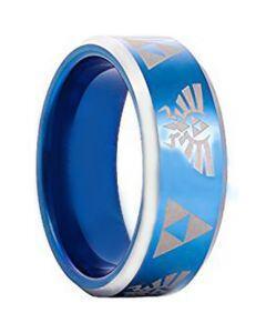*COI Tungsten Carbide Blue Silver Legend of Zelda Ring - TG3396AA