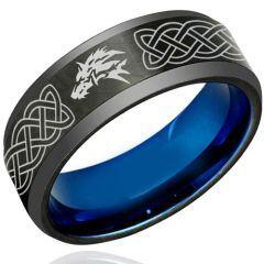 *COI Tungsten Carbide Black Blue Wolf Celtic Ring - TG1222
