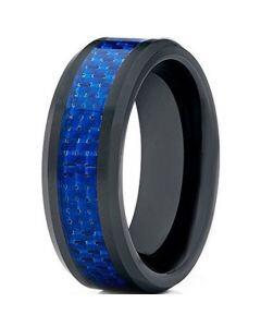 *COI Black Tungsten Carbide Ring With Blue Carbon Fiber-TG2423