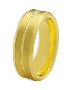 COI Gold Tone Tungsten Carbide Center Groove Ring-TG129AA