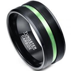 COI Tungsten Carbide Black Green Center Groove Ring-TG1356BB