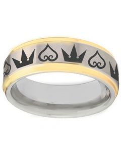 COI Tungsten Carbide Gold Tone Silver Kingdom and Heart Ring-TG1365BB