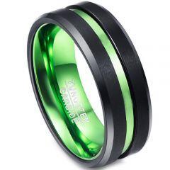 COI Tungsten Carbide Black Green Center Groove Ring-TG1383