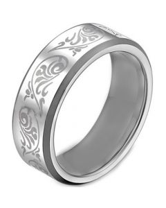 COI Tungsten Carbide Tribal Pattern Beveled Edges Ring-TG1446A