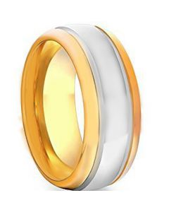 COI Gold Tone Tungsten Carbide Double Grooves Ring-TG1758AA