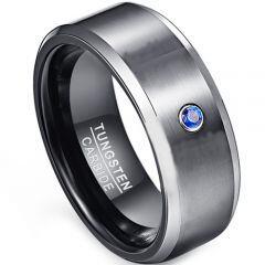 COI Tungsten Carbide Created Sapphire Beveled Edges Ring-TG1853