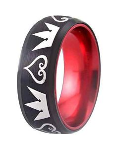 COI Tungsten Carbide Black Red Kingdom & Heart Ring-TG1856
