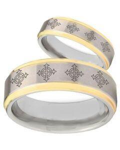 COI Gold Tone Tungsten Carbide Cross Step Edges Ring-TG1865BB
