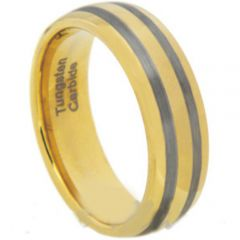 COI Gold Tone Tungsten Carbide Double Lines Dome Ring-TG1920