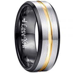 COI Tungsten Carbide Black Gold Center Groove Ring - 193