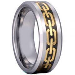 COI Tungsten Carbide Black Gold Tone Key Chain Ring-TG2039