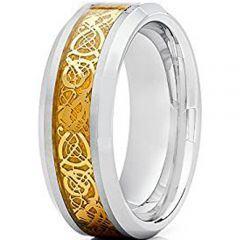 COI Tungsten Carbide Gold Tone Dragon Beveled Edges Ring-TG2128