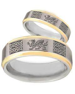 COI Gold Tone Tungsten Carbide Dragon Celitc Ring-TG2354BB