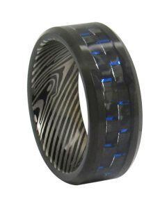 COI Tungsten Carbide Damascus Ring With Carbon Fiber-TG347CC