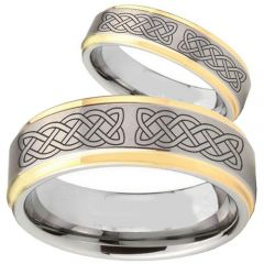 COI Gold Tone Tungsten Carbide Celtic Step Edges Ring-TG2368BB