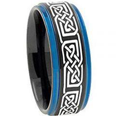COI Tungsten Carbide Black Blue Step Edges Ring-TG2422AA
