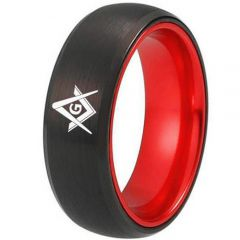 *COI Tungsten Carbide Black Red Masonic Dome Court Ring-TG2434CC