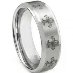 COI Tungsten Carbide Fleur De Lis Beveled Edges Ring-TG2535