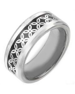 COI Tungsten Carbide Celtic Inlays Beveled Edges Ring-TG2586