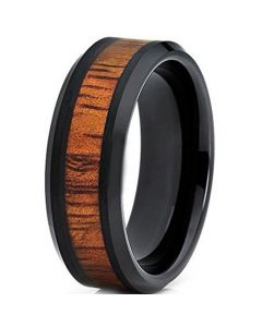 **COI Black Tungsten Carbide Wood Beveled Edges Ring-TG2614
