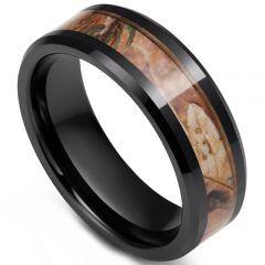 COI Black Tungsten Carbide Camo Beveled Edges Ring - TG3575