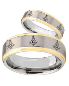 COI Gold Tone Tungsten Carbide Masonic Step Edges Ring-TG2743B