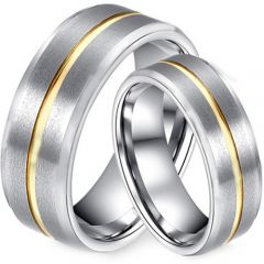 COI Gold Tone Tungsten Carbide Center Groove Ring-TG2793