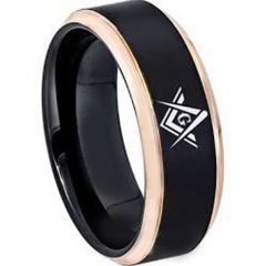 *COI Tungsten Carbide Black Rose Masonic Step Edges Ring-TG2865BB