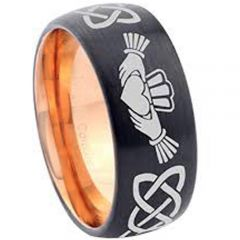 COI Tungsten Carbide Black Rose Mo Anam Cara Celtic Ring-2899