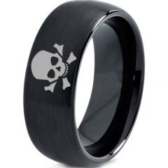 COI Black Tungsten Carbide Skull & Bones Dome Court Ring-TG2920
