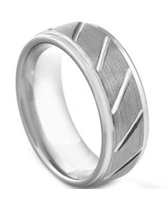 COI Tungsten Carbide Diagonal Grooves Step Edges Ring-TG3045