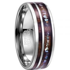 COI Tungsten Carbide Wood & Abalone Shell Dome Court Ring - TG3085B