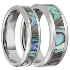 COI Tungsten Carbide Abalone Shell Beveled Edges Ring-TG4070