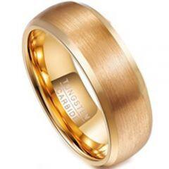 COI Gold Tone Tungsten Carbide Polished Shiny Matt Beveled Edges Ring-TG3108BB