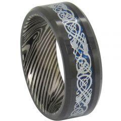 COI Black Tungsten Carbide Damascus Dragon Ring-TG1819