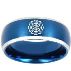 COI Tungsten Carbide Fire Fighter Beveled Edges Ring-TG3187BB