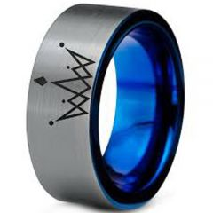 COI Tungsten Carbide King Crown Pipe Cut Flat Ring-3199