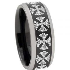 COI Tungsten Carbide Cross Beveled Edges Ring - TG3250AAA