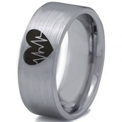COI Tungsten Carbide Heartbeat & Heart Pipe Cut Ring-TG3302CC
