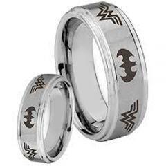 COI Tungsten Carbide Batman Wonder Woman Ring - TG3375AA