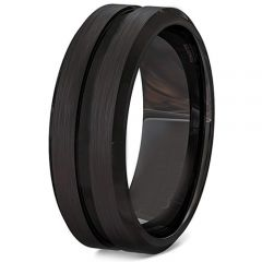 COI Black Tungsten Carbide Center Groove Ring-TG3406BB