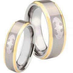 *COI Tungsten Carbide Batman Step Edges Ring-TG4277