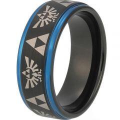 COI Tungsten Carbide Black Blue Legend of Zelda Ring - TG3483