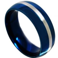 COI Blue Tungsten Carbide Dome Court Ring-TG4367