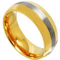 COI Gold Tone Tungsten Carbide Center Line Dome Ring-TG4368