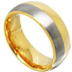 COI Gold Tone Tungsten Carbide Offset Line Ring-TG4369