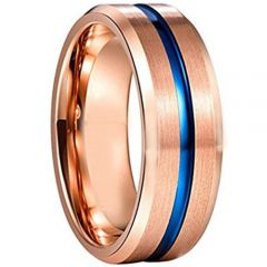 COI Tungsten Carbide Rose Blue Center Groove Ring - 3589