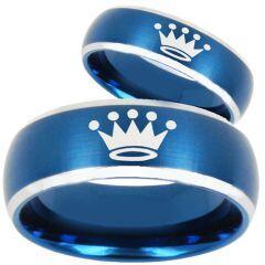 COI Tungsten Carbide King Crown Beveled Edges Ring-TG3590BB