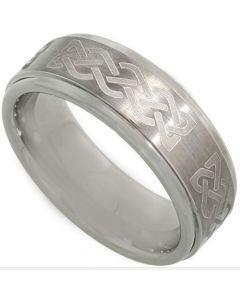 COI Tungsten Carbide Celtic Beveled Edges Ring-TG3621BB